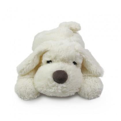 snoozy white plush dog