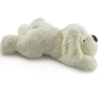 snoozy white plush dog