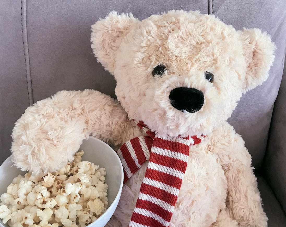 teddy bear eating popcorn